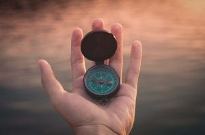 compass showing the right path towards your goal