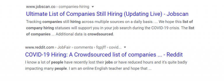 find companies on google search that are hiring