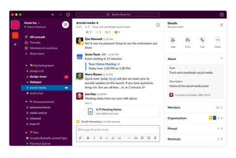 Slack workplace communication software
