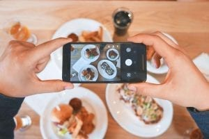taking a picture of food and posting it on social media