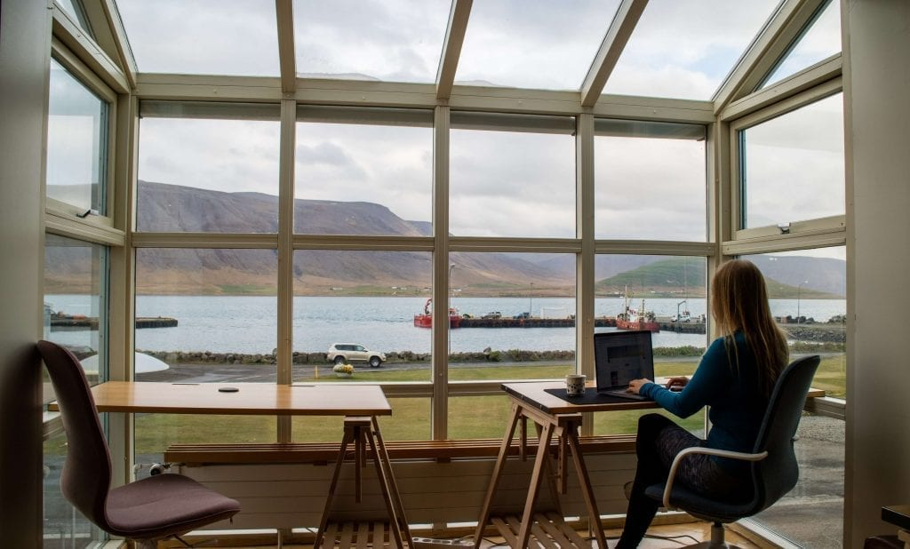 woman working from home with a view