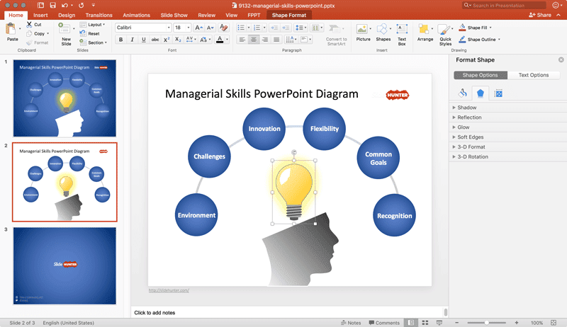 Managerial skills diagram in power point