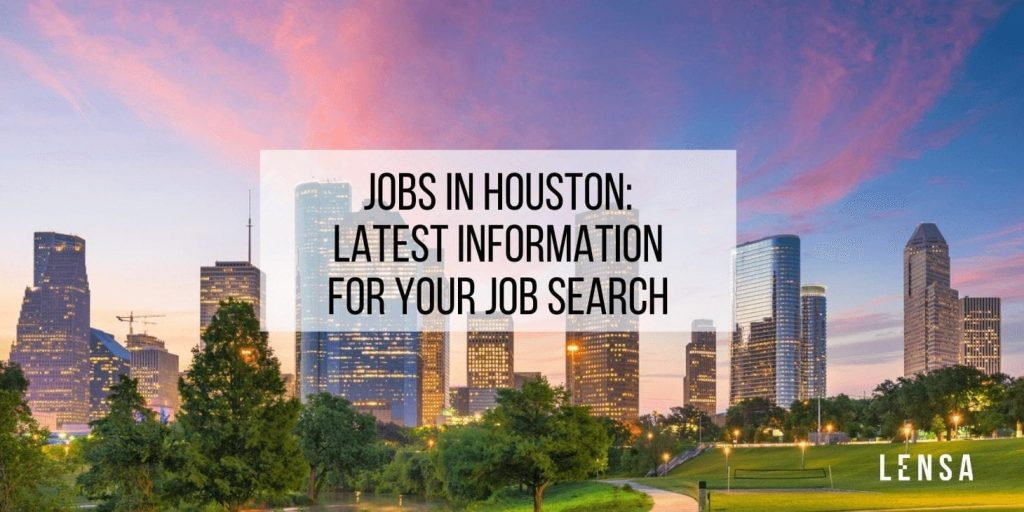Houston, Texas, downtown city skyline and park at dawn where all the job opportunities lie
