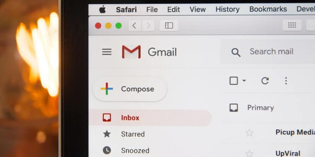 Closeup of gmail account
