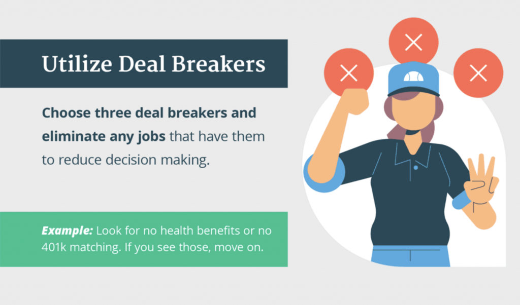 Choose three deal breakers and eliminate any jobs that have them