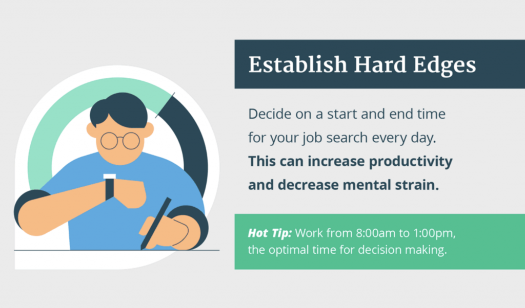 Decide on a start and end time for your job search to decrease decision fatigue