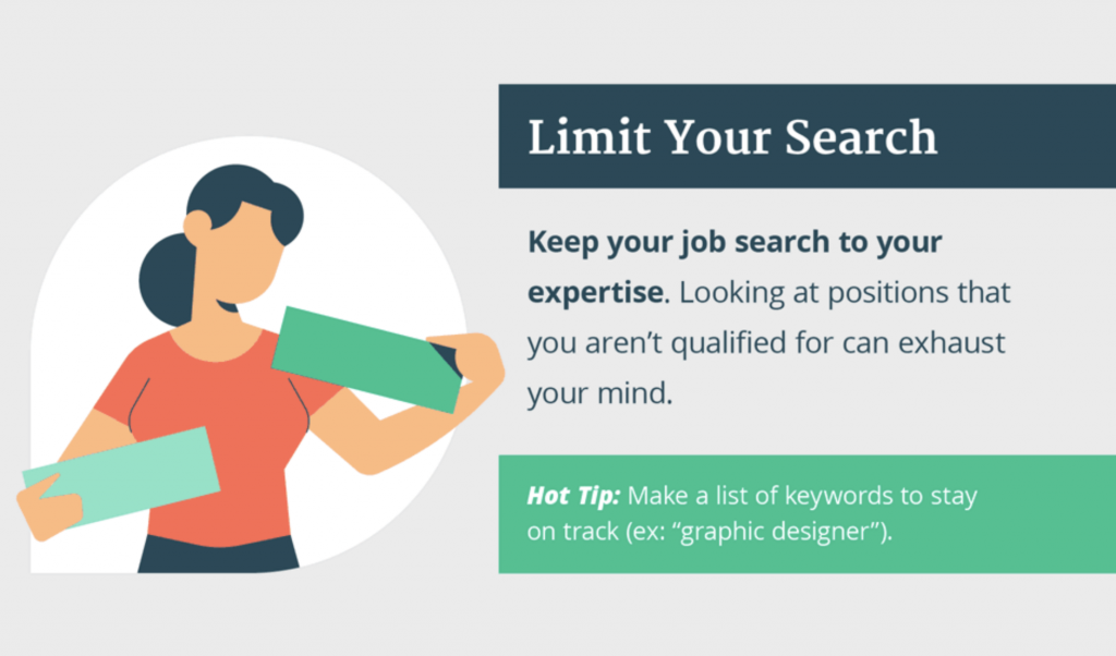 Keep your job search to your expertise and don't look for jobs that you aren't qualified for as they can increase decision fatigue