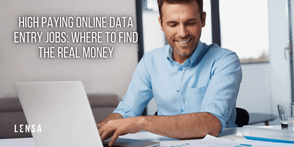 Happy man working a high paying online data entry job from home