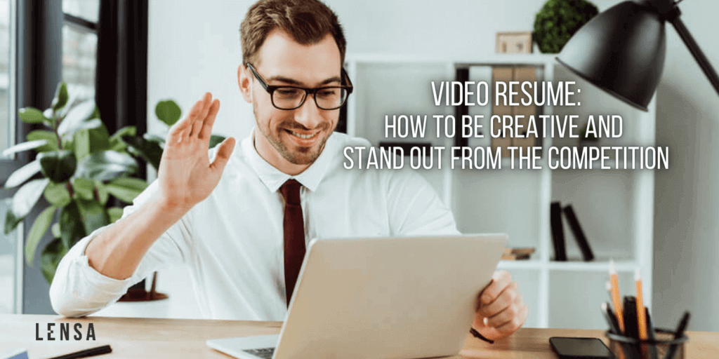 A jobseeker creating a video resume at home on his laptop