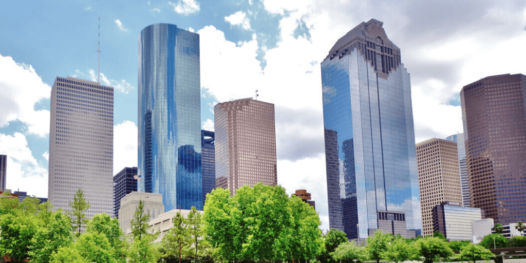 A view of Houston high-rise buildings.
