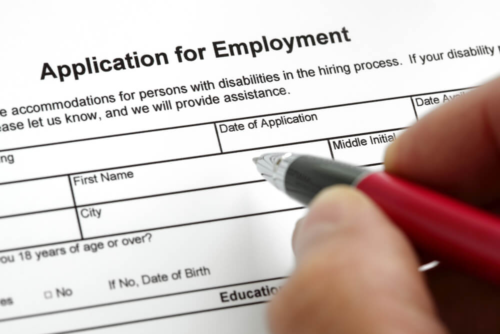 Application for employment form during a job search.