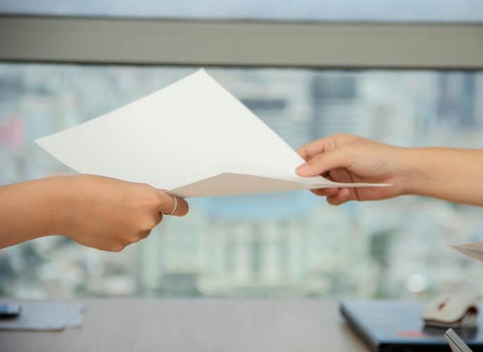 handing resignation letter
